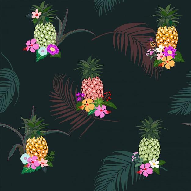 Abacaxi colorido com flores tropicais e folhas padrão sem emenda Vetor Premium