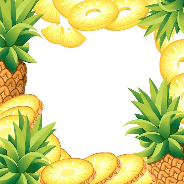 Abacaxi de banana e rodelas de abacaxi. ilustração com espaço vazio para cartaz decorativo, produto natural emblema, mercado dos fazendeiros. página do site e aplicativo para celular Vetor Premium