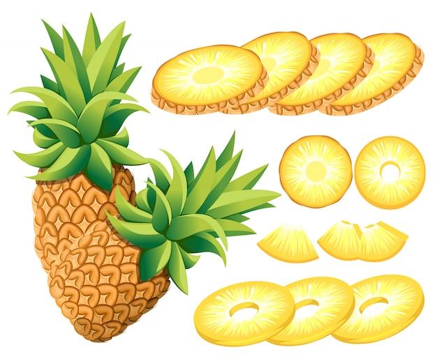 Abacaxi e fatias de abacaxi. ilustração de abacaxis. ilustração para cartaz decorativo, produto natural emblema, mercado dos fazendeiros. página do site e aplicativo para celular Vetor Premium