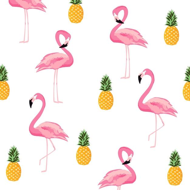 Abacaxi e fundo de padrão sem costura isolada de flamingo. design de cartaz bonito Vetor Premium