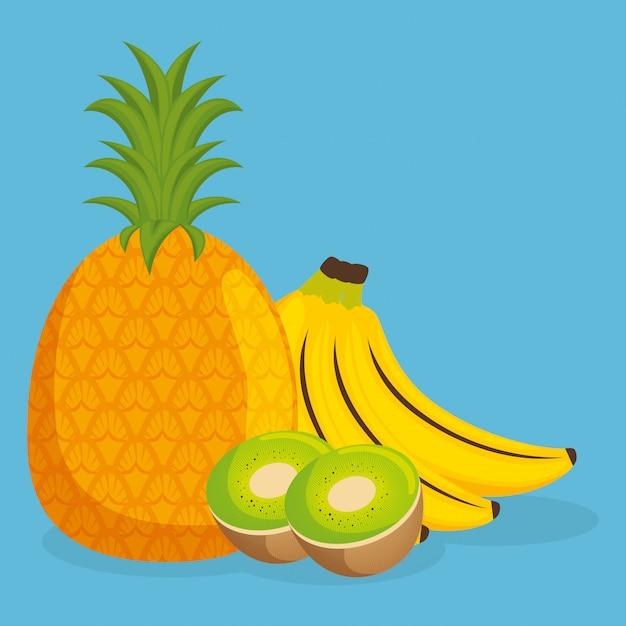 Abacaxi fresco e kiwi com alimentos saudáveis de frutas de banana Vetor grátis