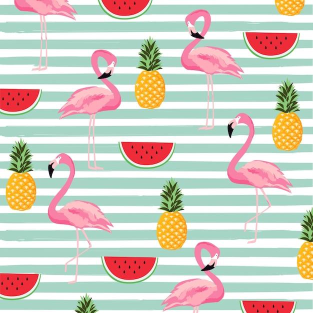 Abacaxi, melancia e flamingo com listras de fundo padrão sem costura Vetor Premium
