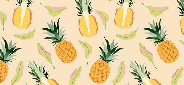 Abacaxis e folhas em amarelo padrão sem emenda. design moderno de frutas exóticas tropicais Vetor Premium