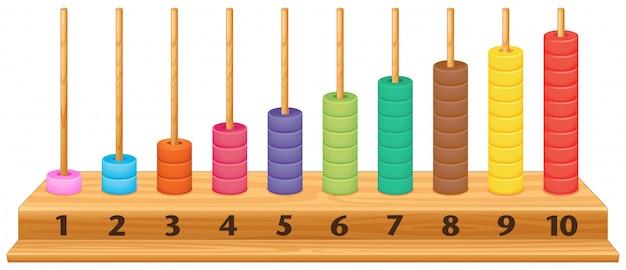 Ábaco colorido de 1 a 10 Vetor grátis