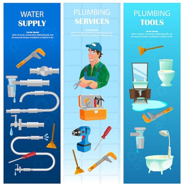 Abastecimento de água, serviço de encanamento com conjunto de banners verticais de ferramentas Vetor Premium