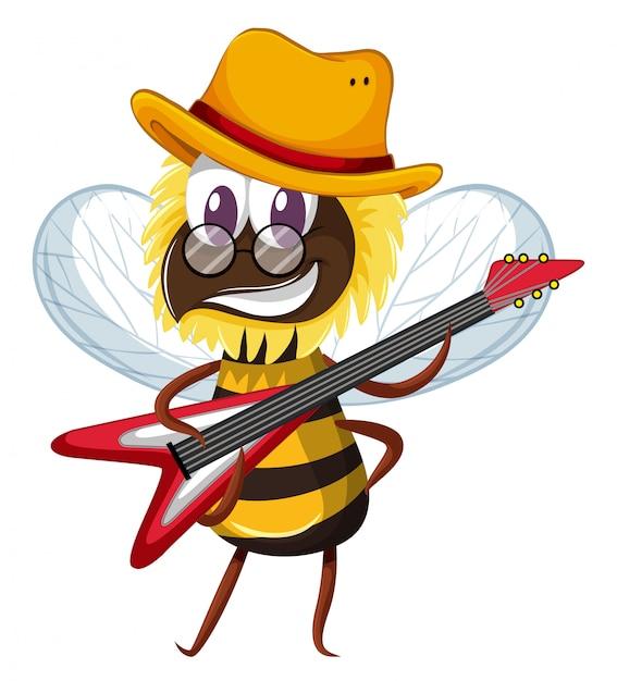 Abelha bonita tocando guitarra eletrônica Vetor grátis