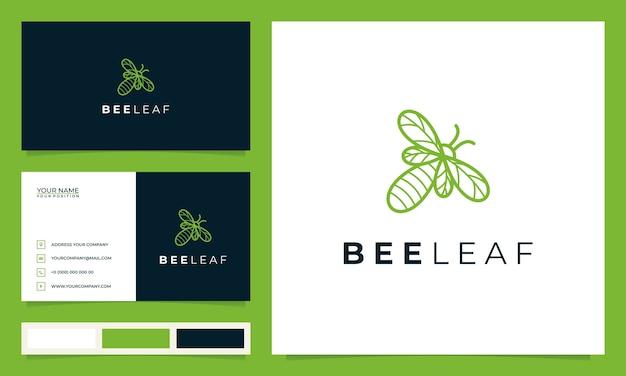 Abelha criativa com o conceito de folhas e cartões de visita Vetor Premium