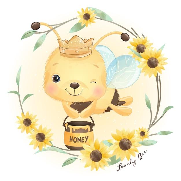 Abelha doodle fofinho com ilustração floral Vetor Premium