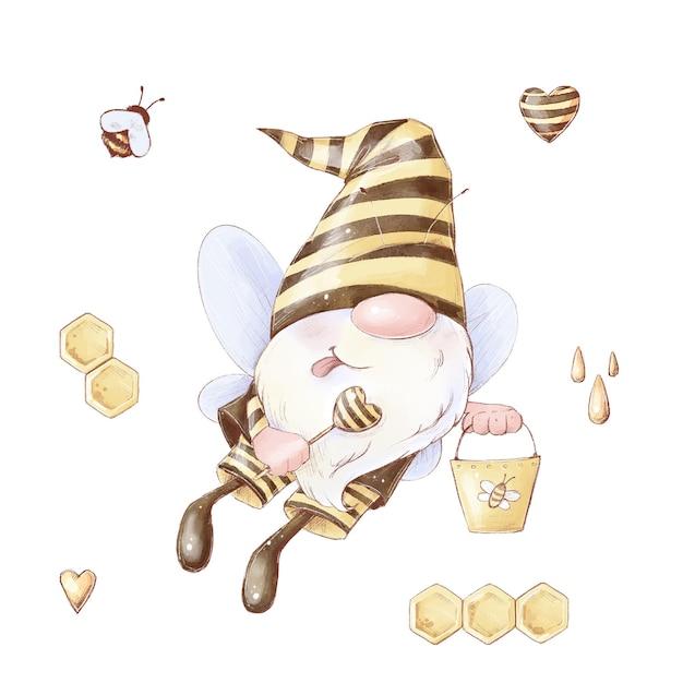 Abelha gnomo bonito dos desenhos animados coleta mel. ilustração em aquarela. Vetor Premium