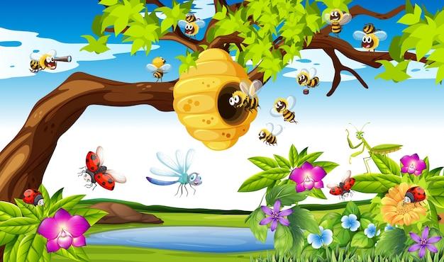 Abelhas, voando, ao redor, árvore, jardim, ilustração Vetor grátis
