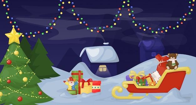 Abeto de natal com decoração em fundo escuro nevado Vetor Premium