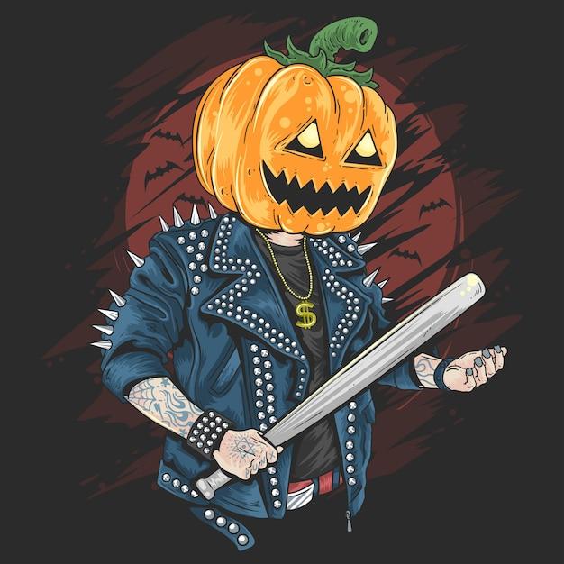 Abóbora cabeça rocker na festa de halloween Vetor Premium