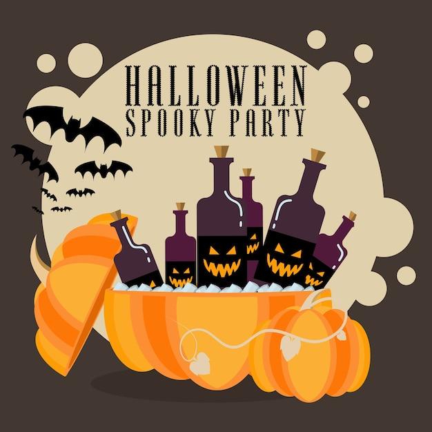 Abóbora de cartaz de halloween com bebidas Vetor Premium