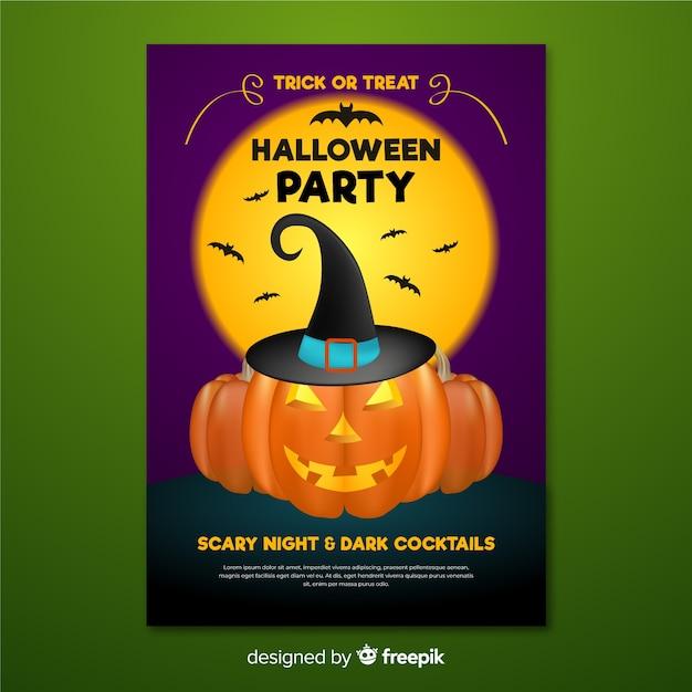 Abóbora de cartaz de halloween com chapéu de bruxa Vetor grátis