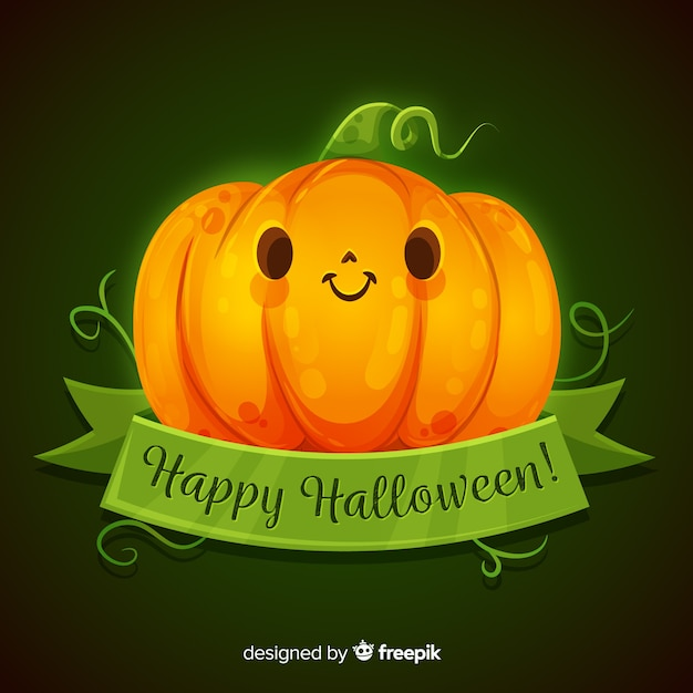 Abóbora de halloween bonito realista Vetor grátis