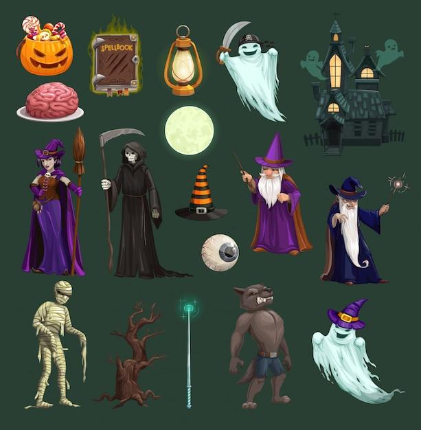 Abóbora de halloween, bruxa, fantasma, doces e caveira Vetor Premium