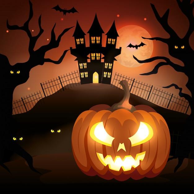 Abóbora de halloween com castelo assombrado na noite escura Vetor grátis