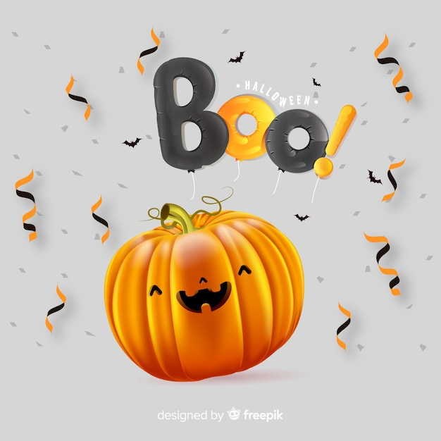 Abóbora de halloween fofa realista Vetor grátis