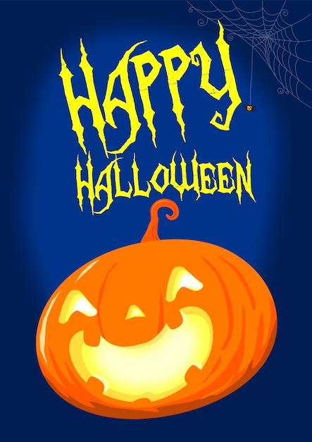 Abóbora de halloween sob o pôster de vetor de lua Vetor Premium