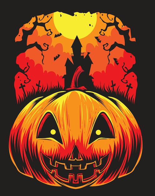 Abóboras assustadoras halloween Vetor Premium