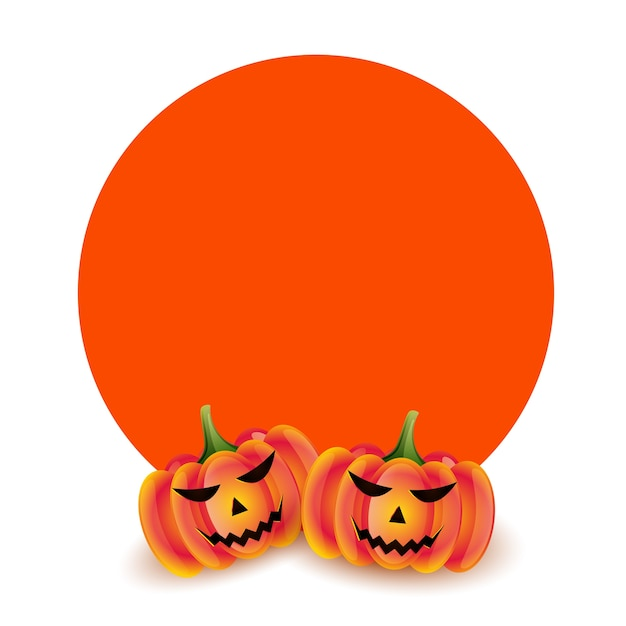 Abóboras assustadoras para o halloween com espaço de texto Vetor grátis