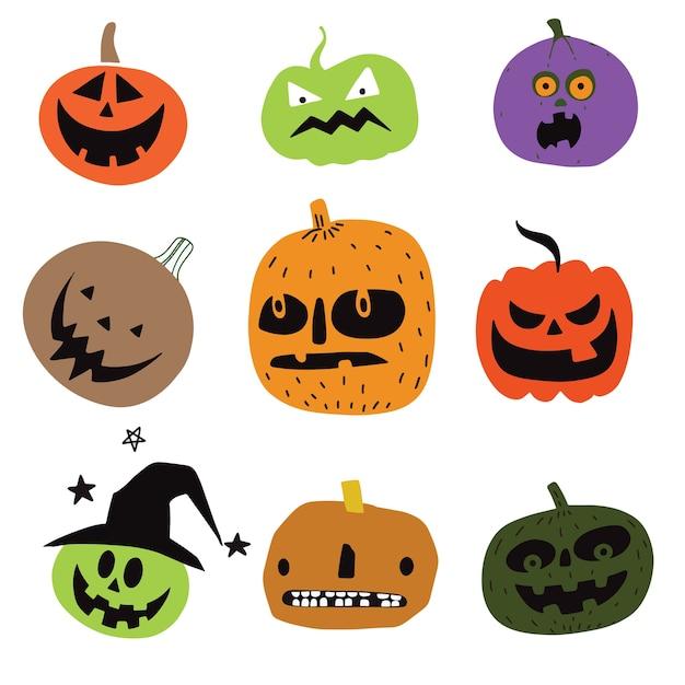 Abóboras de halloween bonito. isolado no fundo. vect estilo simples Vetor Premium