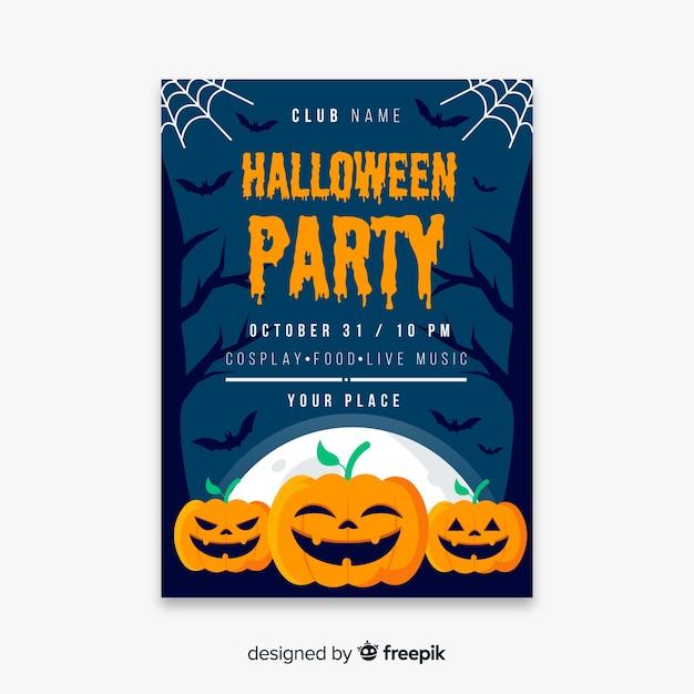 Abóboras felizes para o modelo de cartaz de halloween Vetor grátis