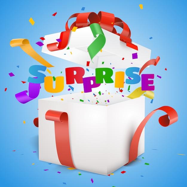 Abra a caixa de presente de texto surpresa. Vetor Premium