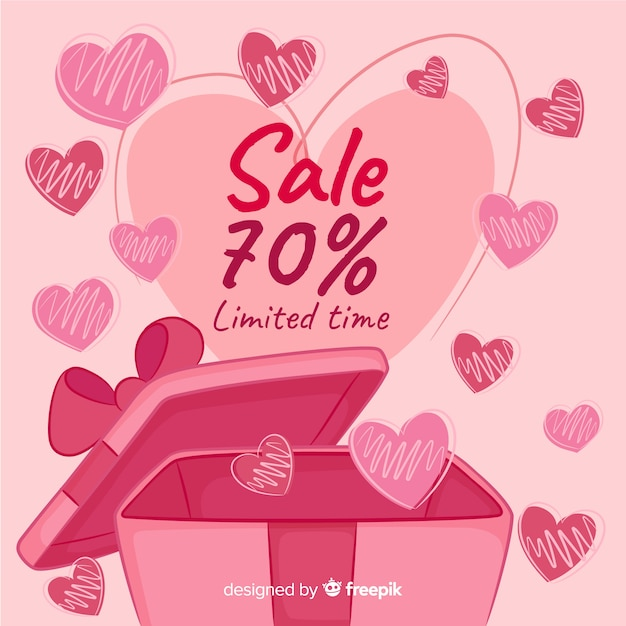 Abra a caixa de presente dos namorados venda fundo Vetor grátis