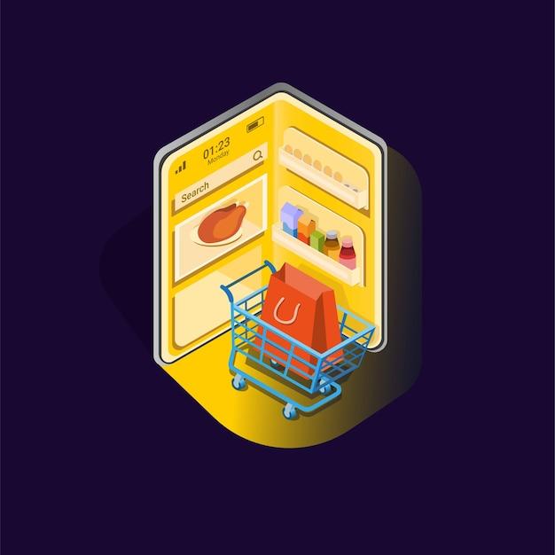 Abra a geladeira no smartphone com o símbolo do carrinho de compras para o aplicativo de comida da loja online Vetor Premium