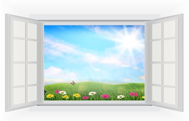 Abra a janela de campos de flores bonitas Vetor Premium