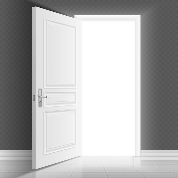 Abra a porta de entrada branca Vetor Premium