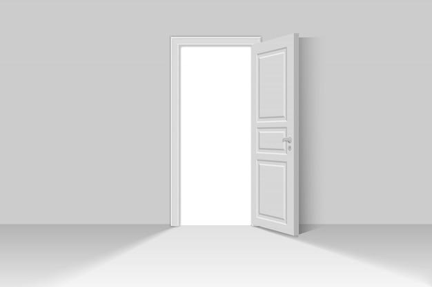 Abra a porta realista Vetor Premium