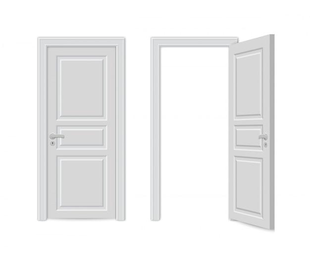 Abra e feche a porta realística Vetor Premium