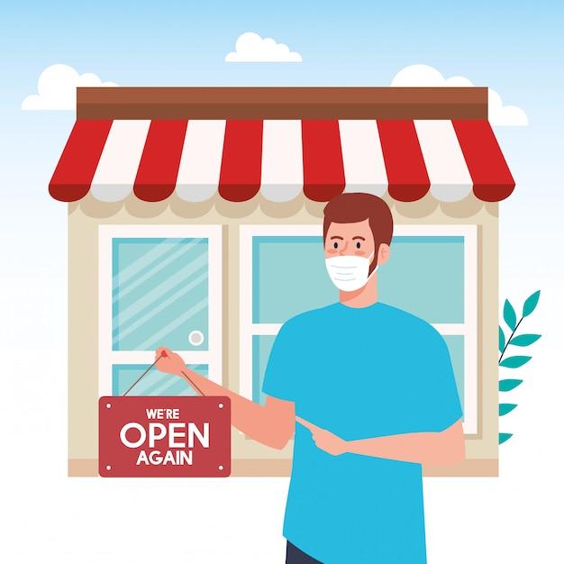 Abra novamente depois da quarentena, homem com etiqueta de reabertura da loja, estamos abertos novamente, fachada da loja da loja Vetor Premium