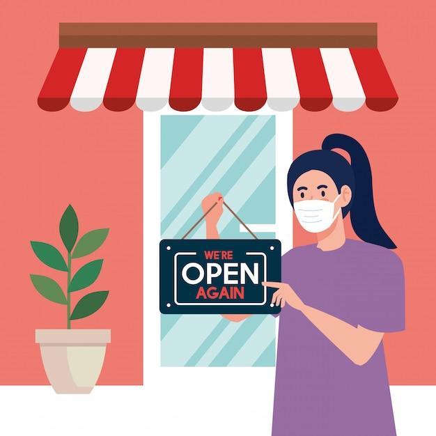 Abra novamente depois da quarentena, mulher com etiqueta de reabertura da loja, estamos abertos novamente, fachada da loja da loja Vetor Premium
