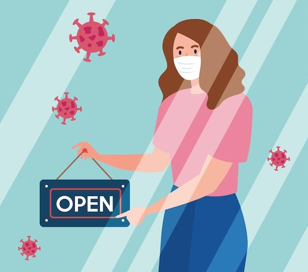 Abra novamente depois da quarentena, mulher com etiqueta de reabertura da loja, estamos abertos novamente Vetor Premium