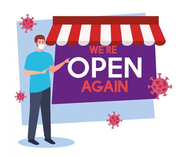 Abra novamente depois da quarentena, reabrindo da loja, o homem com etiqueta de nós estamos abertos novamente Vetor Premium