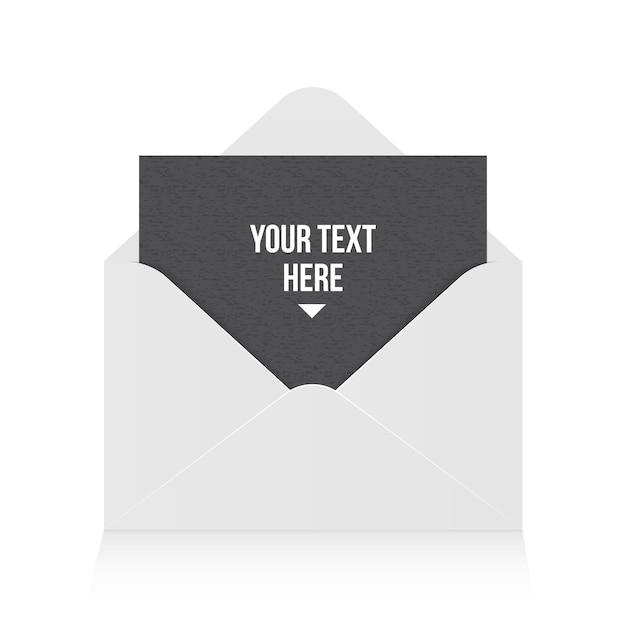 Abra o envelope de papel, mensagem, correio, e-mail. Vetor Premium