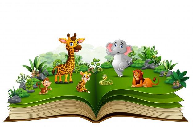 Abra o livro com desenhos animados animais brincando no parque Vetor Premium