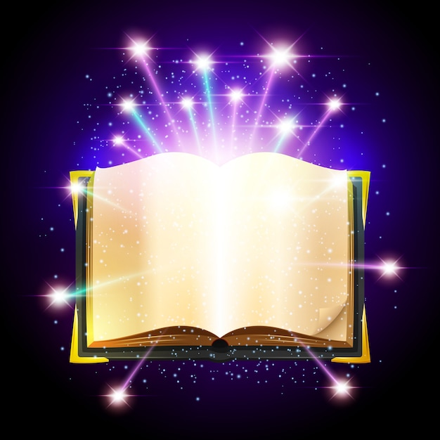 Abra o livro com folhas em branco e brilhando faíscas mágicas Vetor grátis