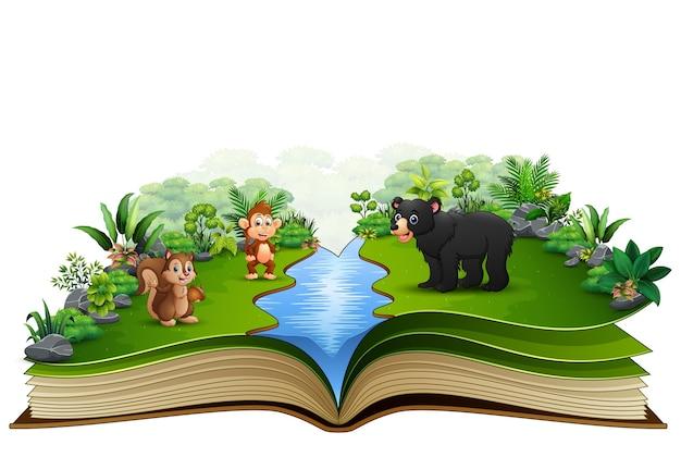 Abra o livro com o desenho animado animal jogando no rio Vetor Premium