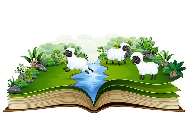 Abra o livro com o grupo de ovelhas brincando no rio Vetor Premium