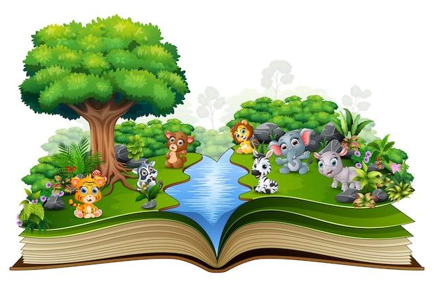 Abra o livro com rio e bebê animal dos desenhos animados Vetor Premium