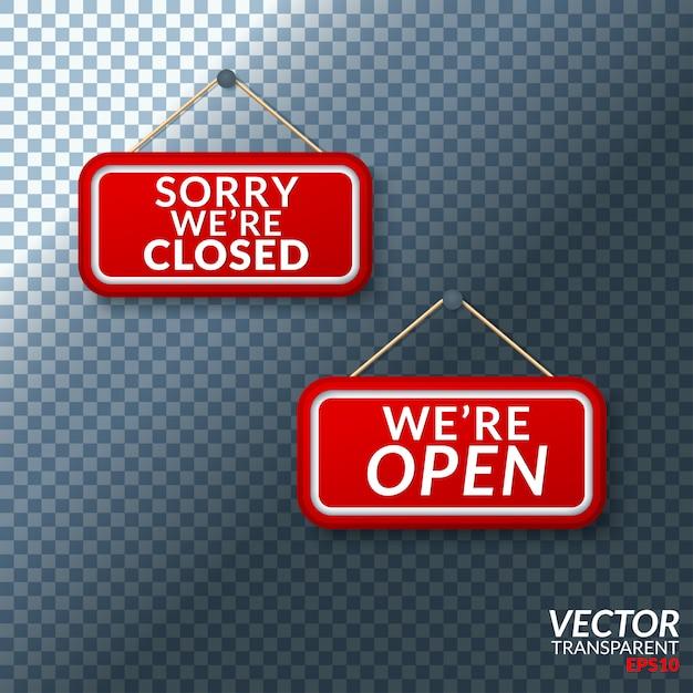 Abra o sinal com transparente Vetor Premium