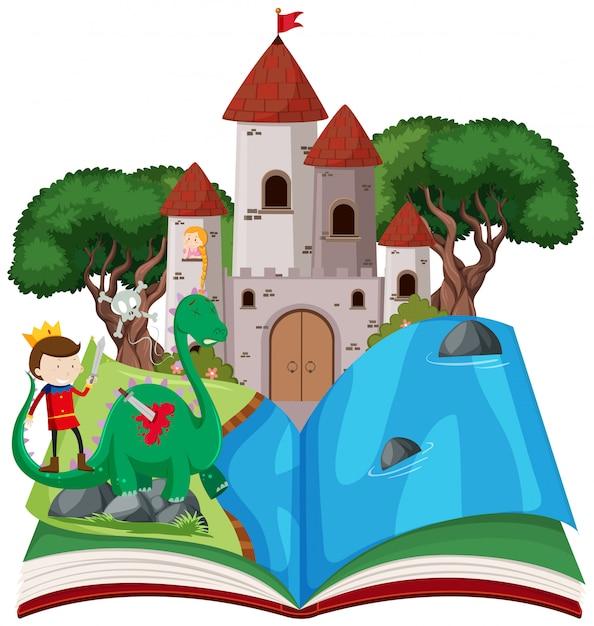Abra o tema de conto de fadas de livro Vetor Premium