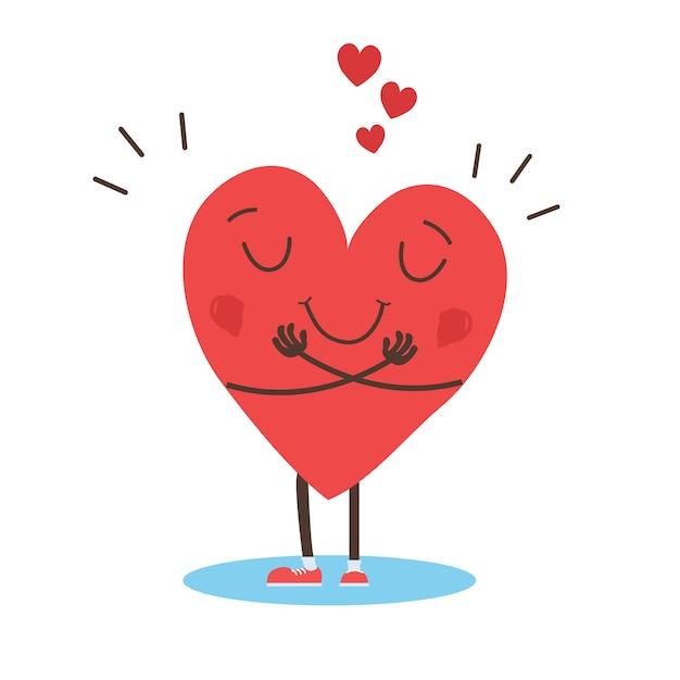 Abraçando o vetor de coração, abraçar-se, amar a mesmo Vetor Premium