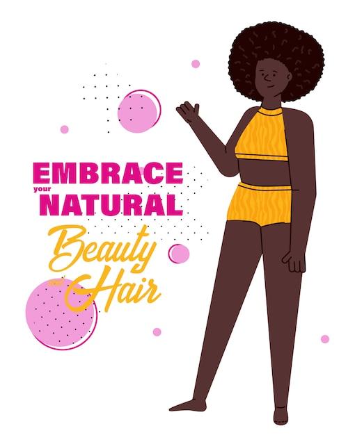 Abrace sua beleza natural e cabelos - mulher negra com afro em traje de banho Vetor Premium