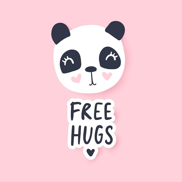 Abraços de graça. ilustração em vetor panda fofo. personagem de animais engraçado dos desenhos animados. Vetor Premium