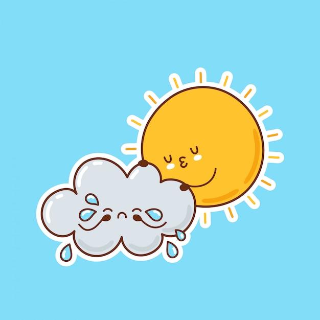Abraços de sol engraçado bonito chorando nuvem. desenho animado personagem ilustração ícone do design Vetor Premium